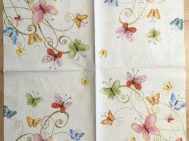 """Serviette en papier """"Papillons multicolores&q"""