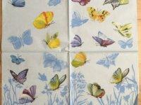 """Serviette en papier """"Papillons et fleurs bleu 1"""