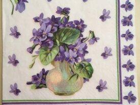 Serviette en papier « Violettes dans leur vase »