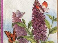 """Serviette en papier """"Lilas et Papillons"""" 1"""