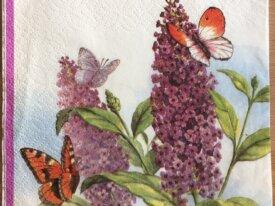 """Serviette en papier """"Lilas et Papillons"""""""