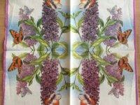 """Serviette en papier """"Lilas et Papillons"""" 2"""