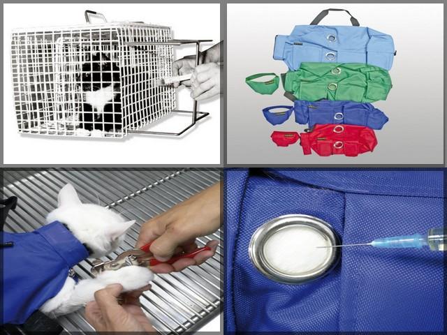 cage et sac de contention pour chat