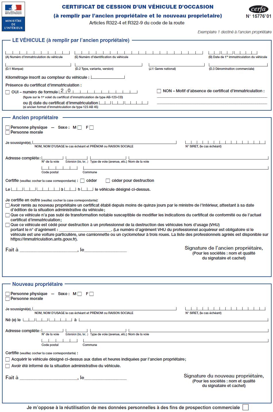 Cerfa N 15776 01 Certificat De Cession D Un Vehicule D Occasion Section Telechargement Autopassion