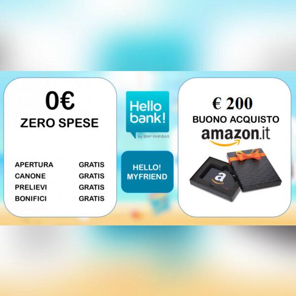 HELLO BANK regala BUONO AMAZON € 250