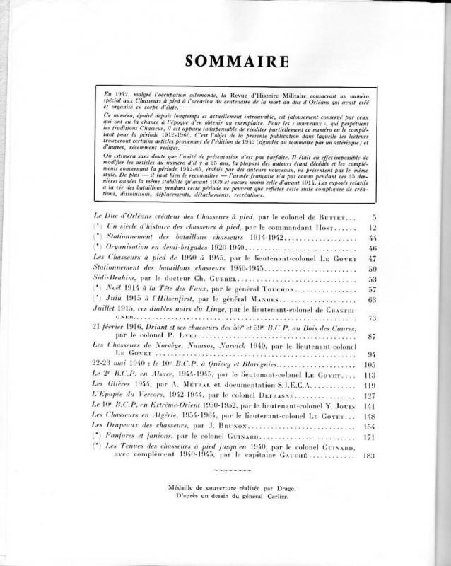 n°2 en 1966 de la Revue Historique des Armées 168001Sommaire1966RHAn2DragoChasseursAPied307