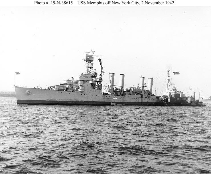 USN CROISEURS LEGERS CLASSE OMAHA - Page 1 549898USS_Memphis_novembre_1942