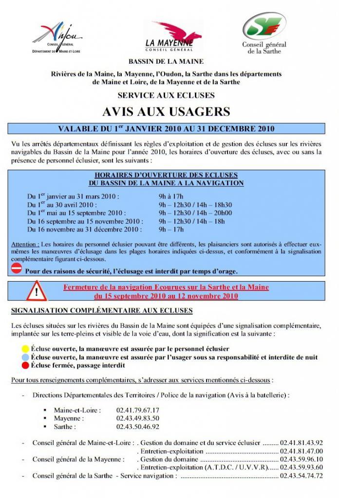 Avis au usager de la Mayen et La Sarthe ( Ecourue ). 6463061