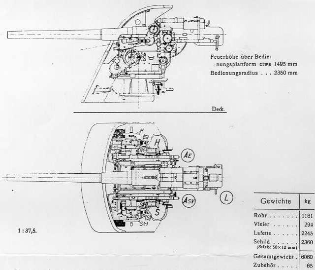 ALLEMAGNE CUIRASSES CLASSE HELGOLAND 750246WNGER_88mm_45_skc13_sketch