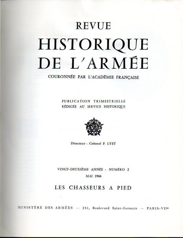 n°2 en 1966 de la Revue Historique des Armées 751814PageGarde1966RHAn2DragoChasseursAPied306