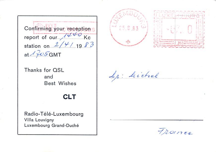 Les anciennes QSL's des membres du Forum - Page 20 144207Luxembourg19832