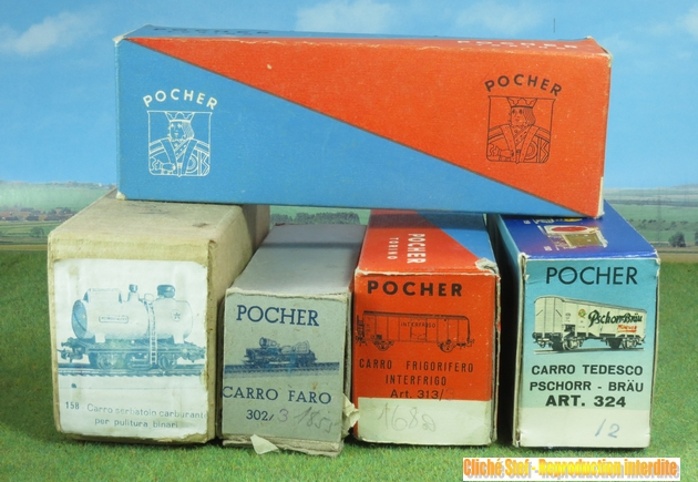 Les différents types de wagons marchandises Pocher ; boites et attelages 163921PocherboitesdiffrentesIMG3270