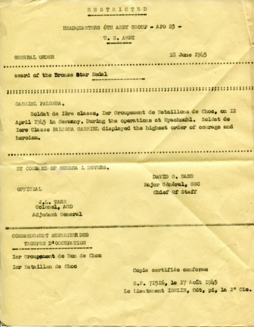 LES INSIGNES DU BATAILLON DE CHOC 1943/1963. 254623BronzestarPALOMBAcitation
