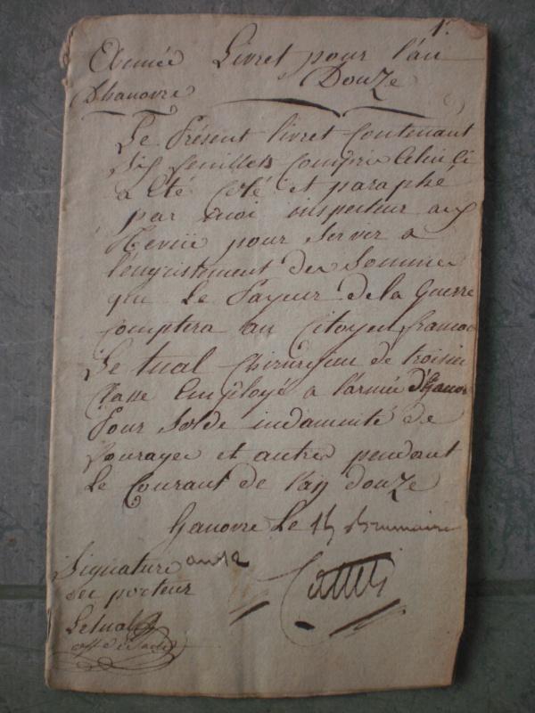 Consulat : Livret de solde Armée d'Hanovre An 12 262110P6303120