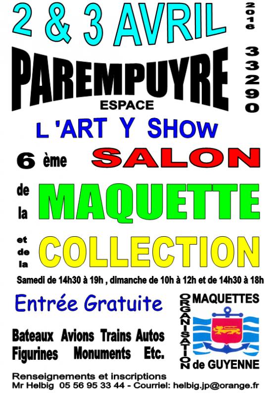 6ème salon de la Maquette le 2 & 3 Avril 2016 à Parempuyre (33) 263776AfficheexpoMAQ2G2016