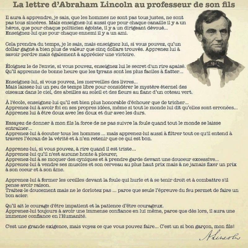 Lettre de Abraham Lincoln au professeur de 268220lincol11
