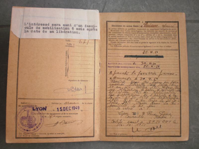 Livret militaire + papiers 10ème régiment du génie - ESC 2 (NOUVELLE BAISSE) Vendu 355877PA251244