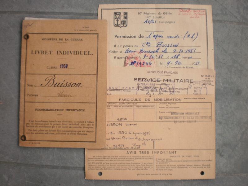 Livret militaire + papiers 10ème régiment du génie - ESC 2 (NOUVELLE BAISSE) Vendu 429478PA251243