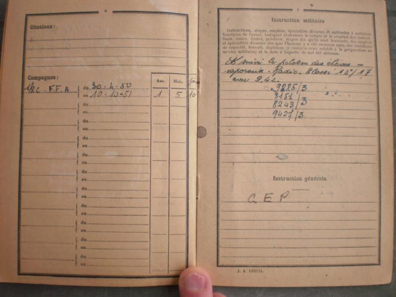 Livret militaire + papiers 10ème régiment du génie - ESC 2 (NOUVELLE BAISSE) Vendu 447010PA251245