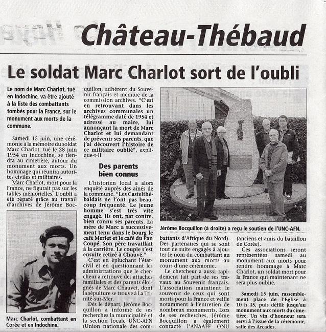 Soldat Marc CHARLOT MPLF le 28 Juin 1954 Régiment de Corée/GM100 452993img569