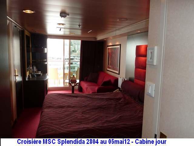 MSC Splendida Du 28 avril au 5 mai 2012 Gêne Barcelone Tunis La valette Taormine Messine Rome 462805P1030798CabineJour