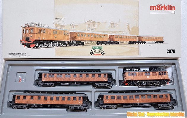 Marklin Coffrets historiques des C.F. suédois voitures en bois 474018Marklin2870coffretSJlctriqueboisR