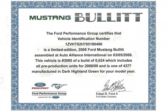 ford mustang BULLITT 2008  508024CertificatBullitt1620x1080
