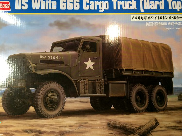 us white 666 cargo truck au 1/35 en Normandie hobby boss 509413white001