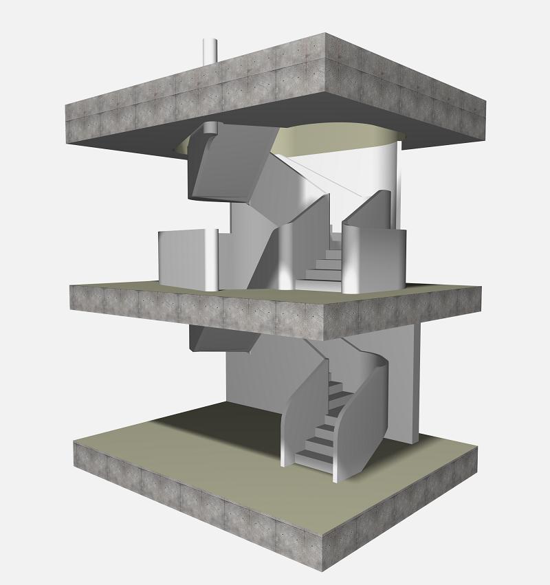 """Challenge thème : """"modélisation et rendu d'une maison atypique"""" - Silk37 & SB - ArchiCAD 17 - 3DS/V-Ray - Photoshop 515100OLSHouseEscalierVue11"""