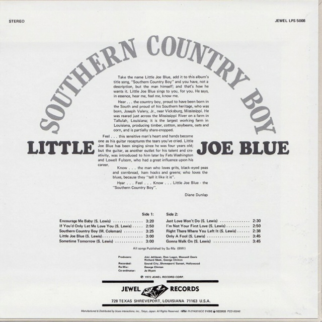 Little Joe Blue - Southern Country Boy (1972) 526740LittleJoeBlueSouthernCountryBoyJewelLPS5008back