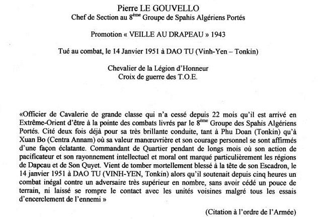 Lieutenant Pierre LE GOUVELLO 8è GSAP MPLF 14/1/1951 528435LEGJA0012PLE