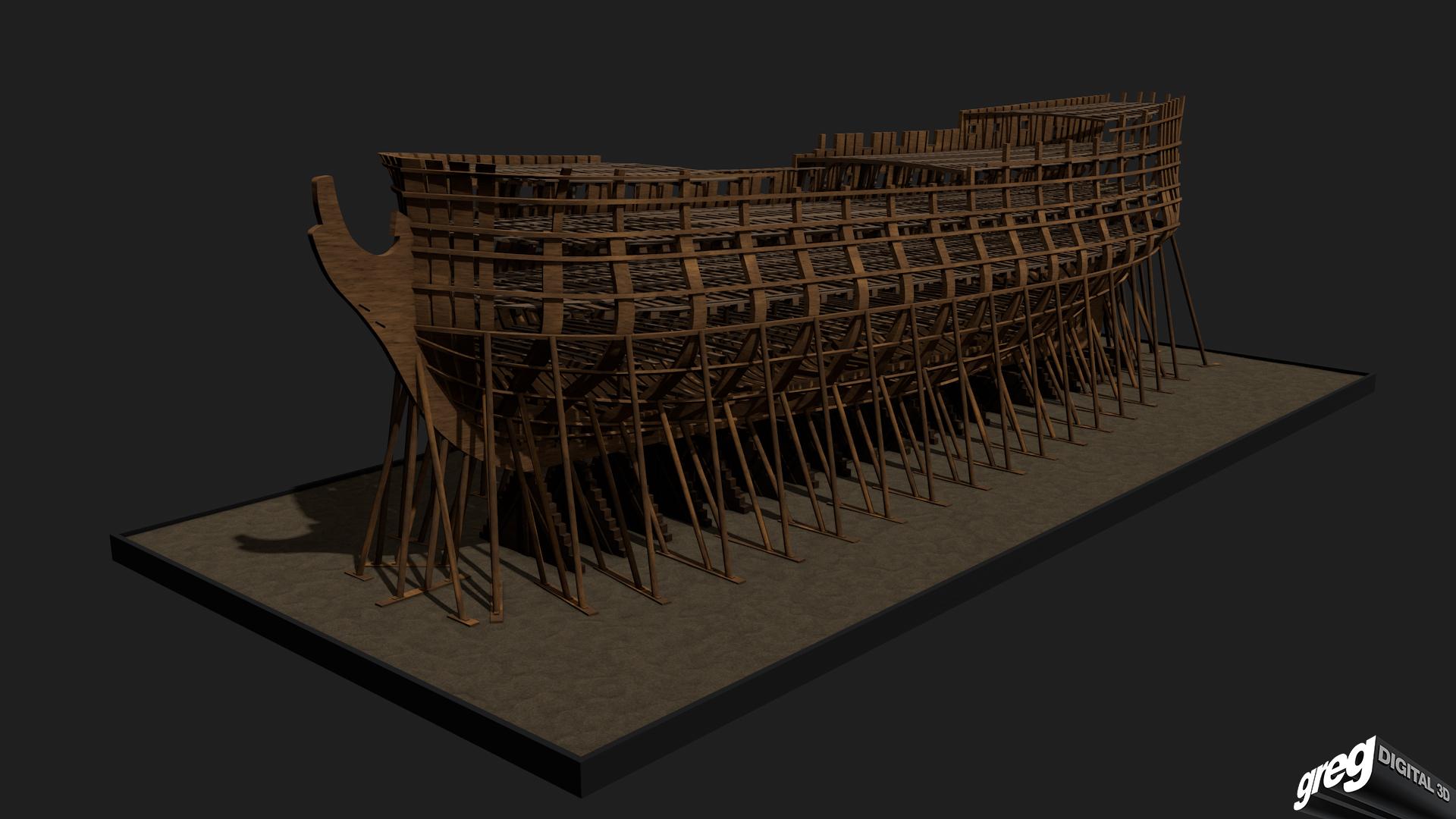 Etapes de construction 3D d'un navire de 74 canons. 569395squelettenavire742