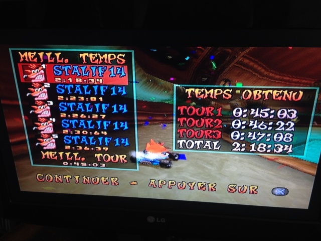 [Jeux Rétrolympiques 2014] Round 3 : Crash Team Racing PS1 574854IMG5781