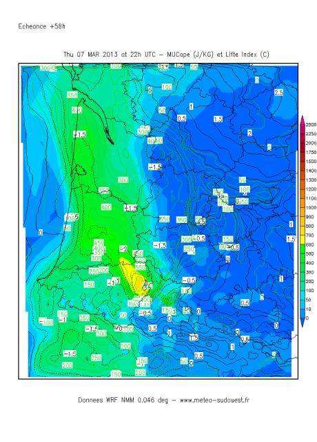 Risque orageux en Aquitaine principalement, dans la soirée de Jeudi soir (le 7/03) 575567MUCAPE58