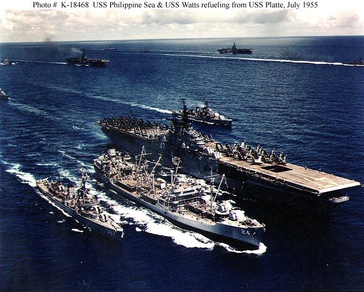 US NAVY PORTE-AVIONS CLASSE ESSEX (4EME PARTIE) 611468USSPhilippineSeaCVA47USSPlatteAO24USSWattsDD5677meflotte190755