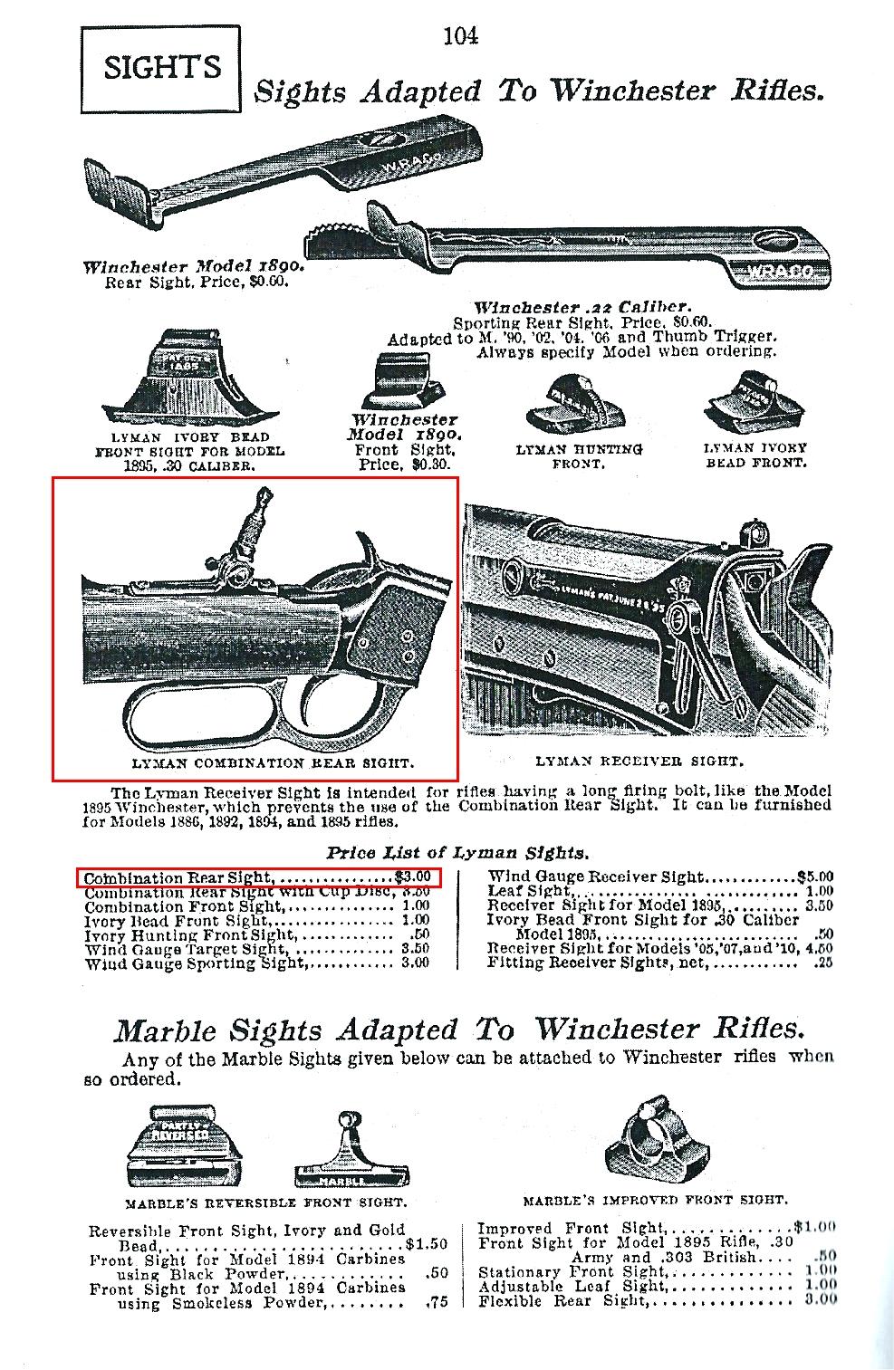 Winchester (époque Bennett) par JM Browning..... - Page 3 698546Lymandioptre1acatalogue1916