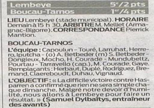 Lembeye/BTS : point score 699478LembeyeBTS