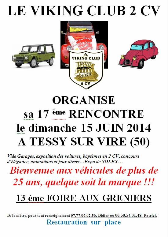 Le VIKING CLUB 2CV organise sa 17 ème rencontre le 15 juin 2014 à Tessy sur Vire 50 722021affichevc2cv2015
