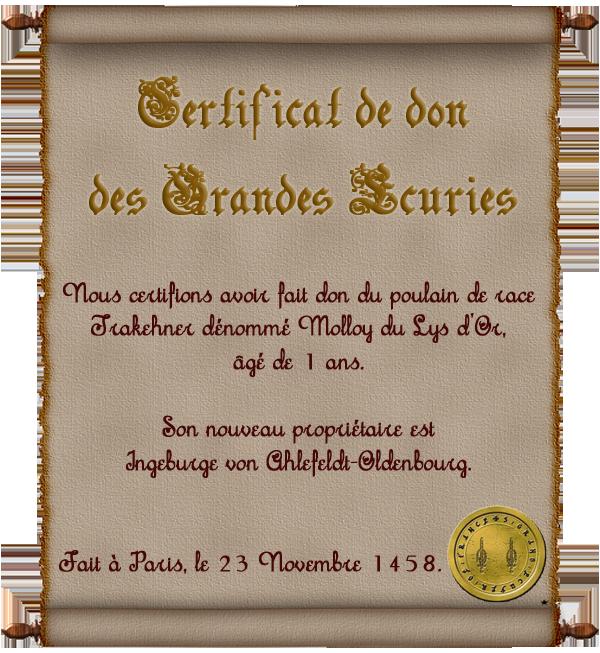[Molloy] Certificat des écuries royales 802759Ingeburge