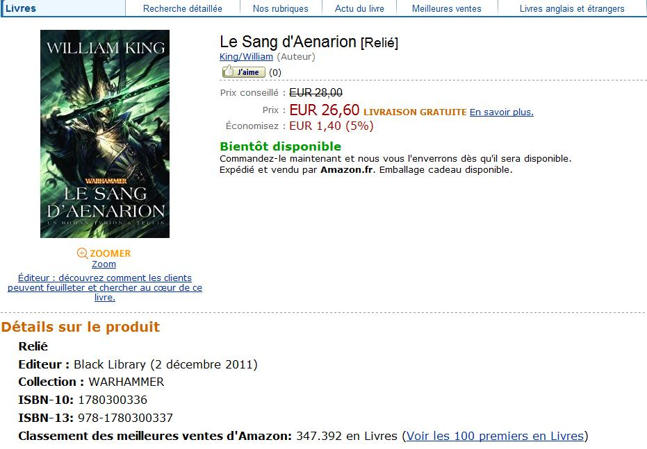Le Sang d'Aenarion de William King 805655Lesang