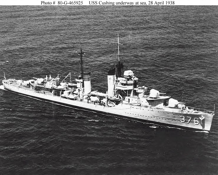 USN DESTROYERS CLASSE MAHAN 805690USSCushing28041938