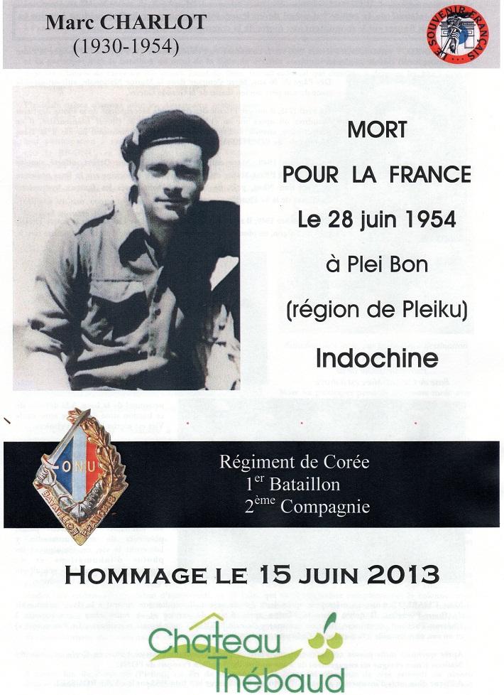 15 Juin 2013 Hommage au soldat Marc CHARLOT du Régiment de Corée Mort pour la France en Indochine  822611img486Copie