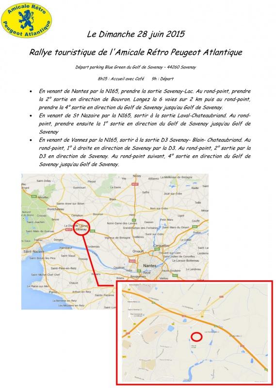 28 Juin - 28ème Rallye de l'Amicale Rétro Peugeot Atlantique 862791PlanaccsARPA2015