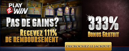Bonus de bienvenue du casino en ligne Play2Win
