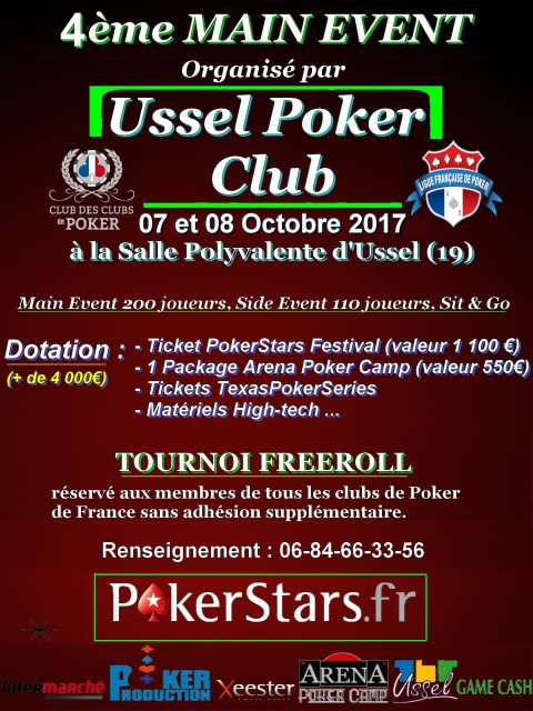 Main Event #4 - Ussel Poker Club (19) - 07 et 08 Octobre 2017 903118Affiche2017