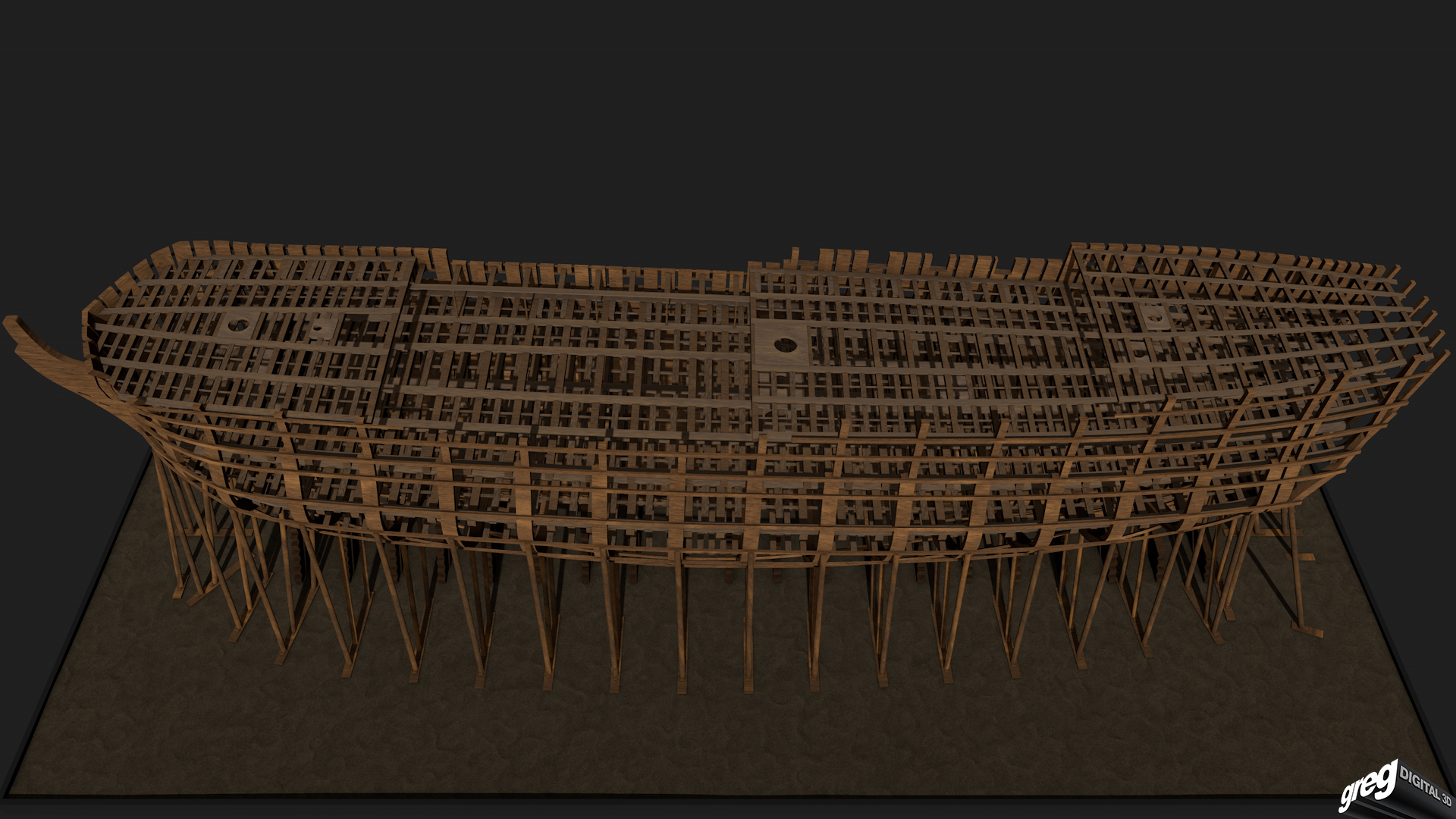 Etapes de construction 3D d'un navire de 74 canons. 938179Squelette4