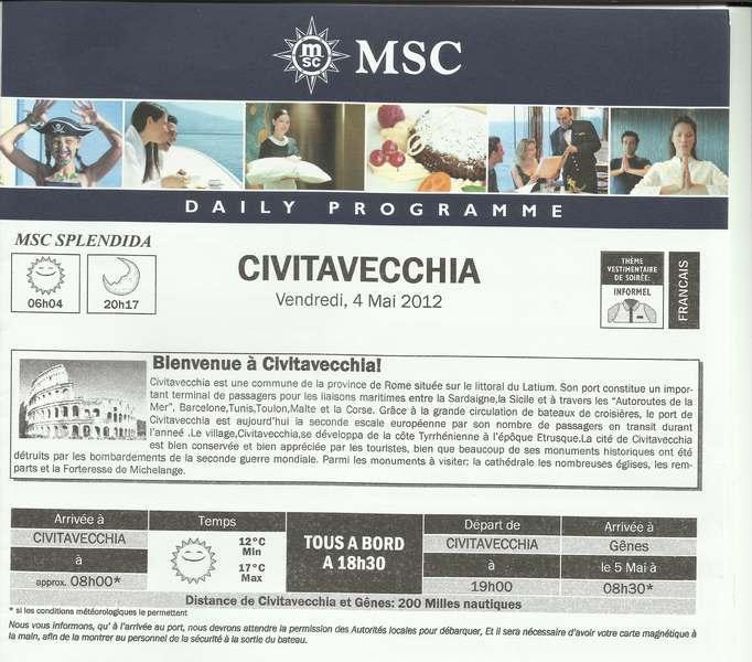 MSC Splendida Du 28 avril au 5 mai 2012 Gêne Barcelone Tunis La valette Taormine Messine Rome 951896ItalieJournal001