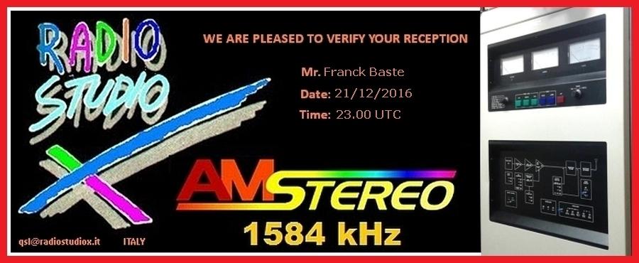 Radio Studio X 1584kHz 967788QSLRadioStudioX