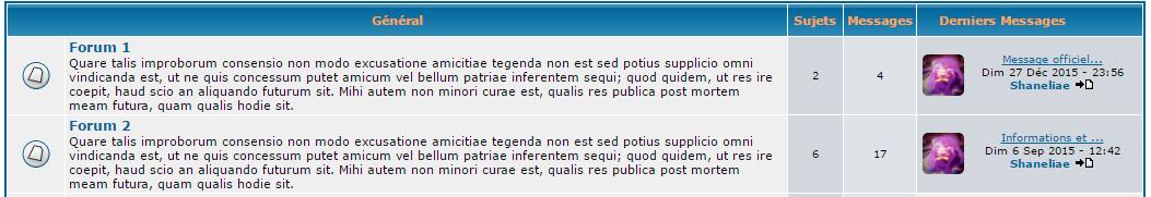 Les catégories des forums