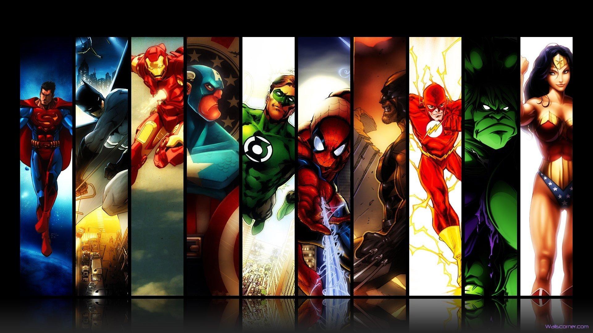 Super héros  122660marveldccomicssupermanbatmanironmanspidermangreenlanterncaptainamericawolverinetheflashhulkwonderwoman